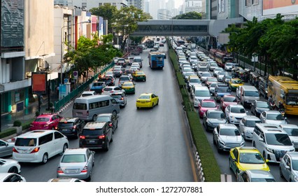 Traffic congestion normally happens during rush hours on weekdays at Siam Square, Phya Thai road in Bangkok city, Thailand, Asia.