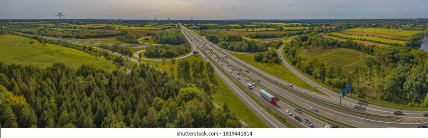 Traffic congestion on the highway in Germany. Cars are stuck in a traffic jam shortly before reaching the Rader high bridge at the A7 motorway near Rendsburg, Germany.