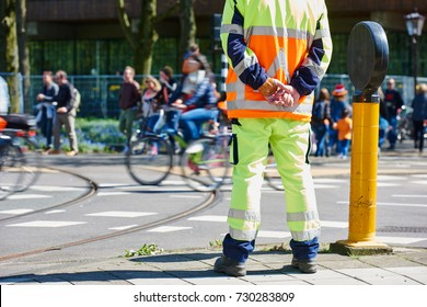 Traffic control manager watching order