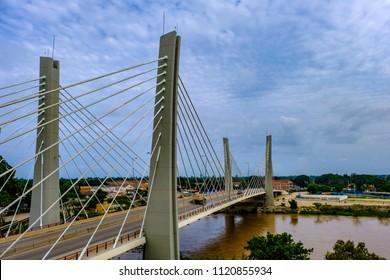 Traffic crosses modern suspension Bridge, 4 April, over Catumbela River linking cities of Benguela and Lobito in Angola