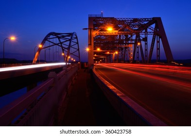 Traffic Crossing Bridges at Night in La Crosse, Wisconsin