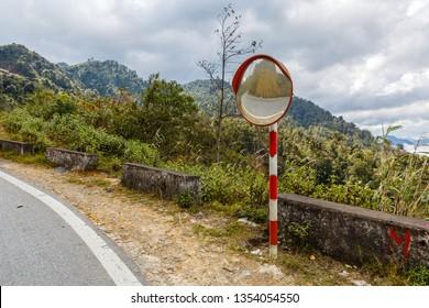 The traffic curve mirror, convex mirror road