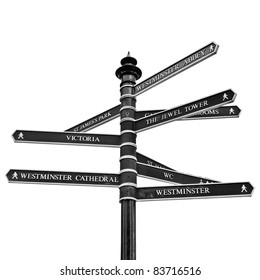 Traffic direction arrows sign, London, UK - isolated over white