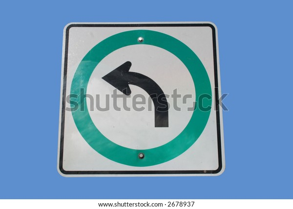 Traffic direction sign with arrow pointing left