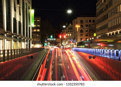 traffic in the evening, lights of the city