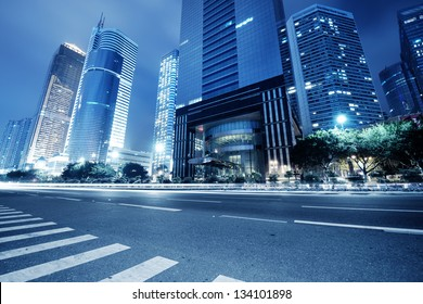 traffic in guangzhou at night,china
