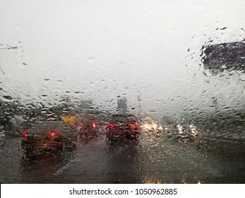 Traffic in heavy monsoon rain.