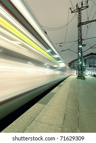 Traffic with high dynamic motion blur outdoor speed train