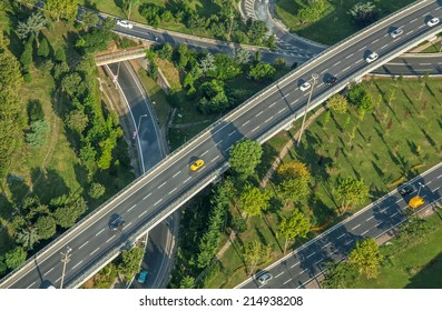 Traffic and highway road from air. Istanbul, Turkey
