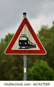 Traffic indicator, train attention ,Germany - rail road crossing without barrier