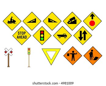 Traffic & Information Signs collection #13. Isolated