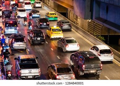 Traffic jam in Bangkok at night , Traffic problems in Bangkok, Thailand, Aug, 18 , 2018