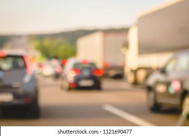 traffic jam blurred background