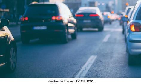 Traffic jam cars on road highway