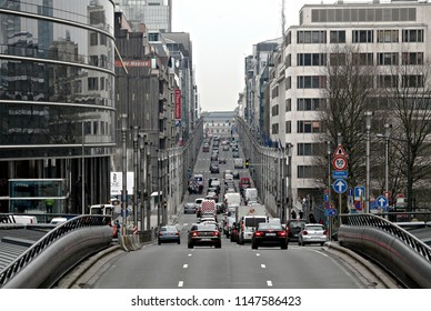 Traffic jam in central street of Brussels, Belgium on Mar. 24, 2016.