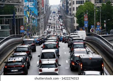 Traffic jam in central street of Brussels, Belgium on Jun. 12, 2019