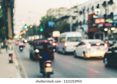 Traffic jam in city with blurred effect.