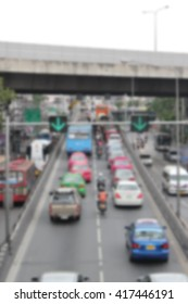 traffic jam in the city/ pollution/ people/ blur