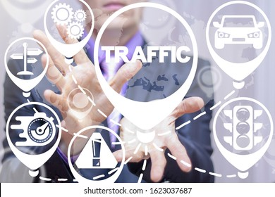 Traffic jam concept. Man represent traffic transportation system on virtual screen. Highway and urban automobile congestion.