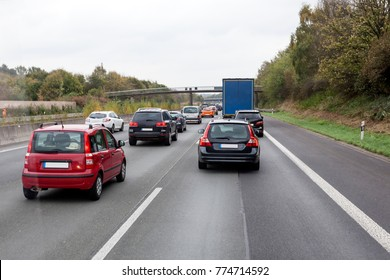Traffic jam at the german highway (autobahn)