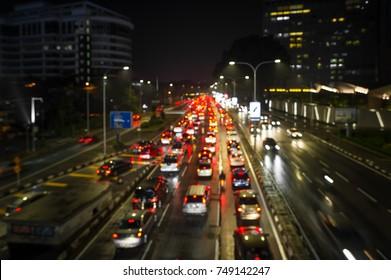 Traffic jam at Jalan Ampang Kuala Lumpur, Malaysia.