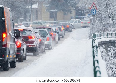 Traffic jam in the middle of winter. Snow calamity. Snowstorm in Slovakia
