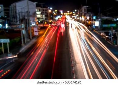 Traffic jam night,blur focus
