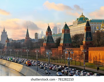 Traffic jam on the Kremlin embankment in Moscow