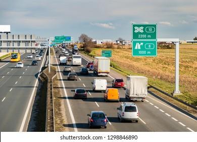 Traffic jam on Prague Circuit highway, Prague, Czech republic