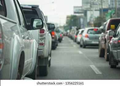 traffic jam on road rush hour