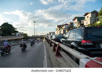 The traffic jam on road upto overbridge at rush hour