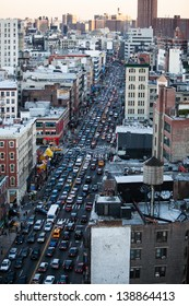 traffic jam on a street in Manhattan, New York