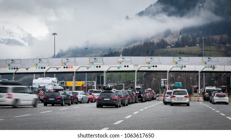 Traffic jam on toll gates, people traveling for holidays