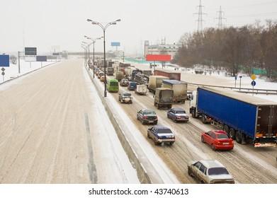 Traffic jam on winter road