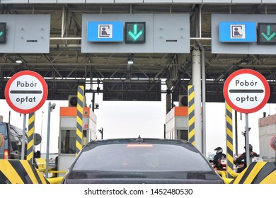Traffic jam at the point of payment for the toll road. Toll highway. Point of payment on the road
