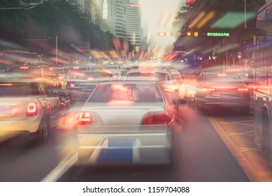 traffic jam with row of cars on toll way, rush hour, vintage process style, double exposure effect way