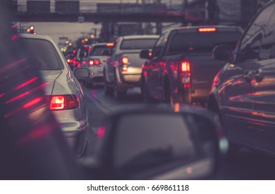 traffic jam with row of cars on expressway during rush hour / soft focus picture / Vintage concept