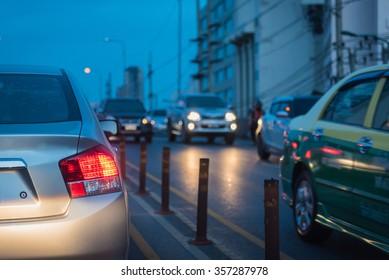 traffic jam in rush hour before night