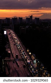 a traffic Jam seen at dusk in London