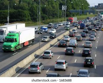 Traffic jam in Stockholm