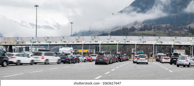 Traffic jam in the toll gates, people traveling for holidays