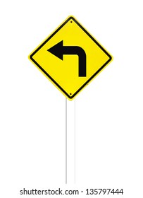 Traffic left Sign on the road