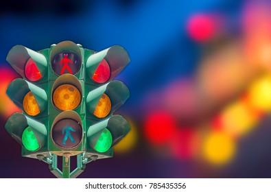 Traffic light, blurred light background