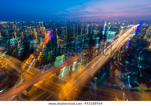 Traffic light in the capital. Art image. Abstract. Camera moving.