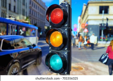 Traffic light at the crossroads