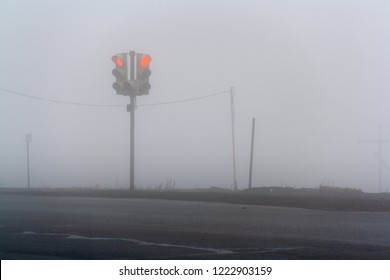 Traffic light in the fog, Norilsk, August 28, 2018