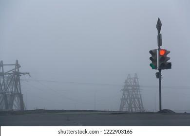 Traffic light in the fog, Norilsk, August 27, 2018