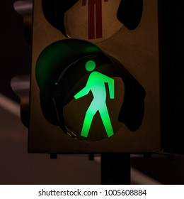 traffic light with green light and safe to move ( Pedestrian Traffic Lights ).shallow dept of field.