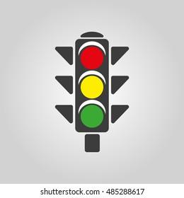 The traffic light icon. Stoplight and  semaphore, crossroads symbol. Flat  illustration