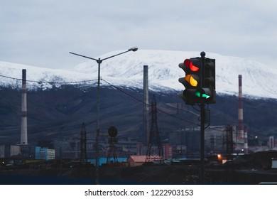 Traffic light of industrial city, Norilsk, September 13, 2018